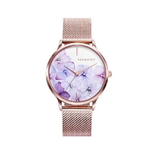 Viceroy Kiss - Reloj para Mujer Acero IP Oro Rosa Esfera Flores 461096-97