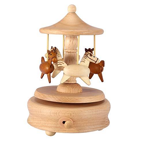 Houten muziekdoos, houten muziekdoos voor dochter, roterende carrouselmuziekdoos voor 4 paarden, vintage muziekdoos, houten draaimolen voor paardenmuziek, houten ambachten Verjaardag Kerstcadeaus.
