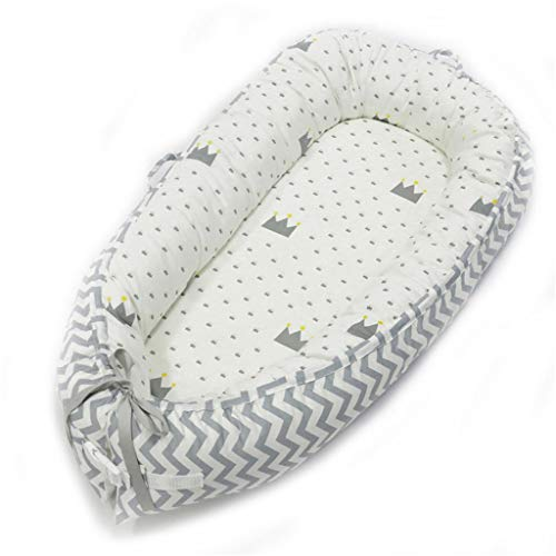 Discover Bargain Baby Bed Newborn Lounger Crib Cot Multifunctional Nest Cotton Portable Crib for Bed...