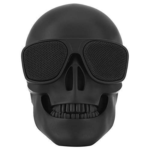 Skull Speaker Portable Bluetooth Speakers 8W Output Bass Stereo Compatible for Desktop PC/Laptop/Mobile Phone/MP3/MP4 Player for Halloween Decorations Unique Gift Party-Black