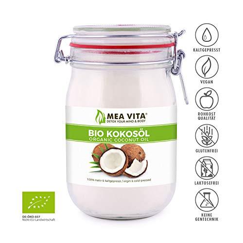 MeaVita Bio Kokosöl, nativ, DE-ÖKO-037, 1er Pack (1 x 1000 ml) im Drahtbügelglas - 4