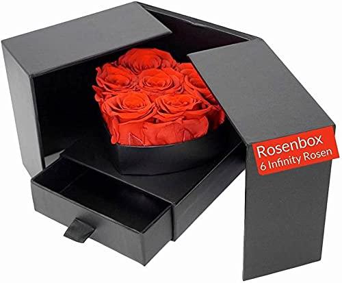 LA VITA VIVA Infinity Rozen Box in hartvorm. 6 echte rozen rood. 3 jaar houdbaar. Rozenbox met lade. voor onvergetelijke…