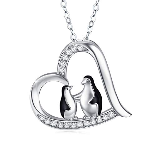 Penguin Necklace 925 Sterling Silver Cute Animal Heart Pendant Necklace Mummy Gifts for Women- 18' + 2' Silver Chain …