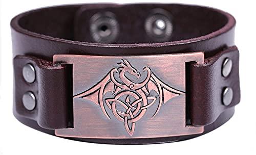 AMOZ Amuleto Vintage Nórdico Vikingo Nudo Celta Trinity Flying Dragon con Pulsera de Ala para Hombres Y Mujeres,Cuero Marrón, Re Antiguo