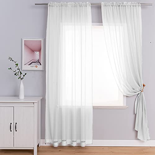 2 Panels White Sheer Curtains with Tiebacks, Rod Pocket Semi Sheer Privacy Window Treatment Voile Panels Drapes Curtains for Bedroom Living Room Party Backdrop, Wide 52 x Long 84 inch