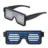 Queta LED Gafas Luminosas Gafas de Persianas, LED Luz Gafas de Patrones Dinámicos Multicolores, Gafas de Neón Inalámbricas USB Recargable para Fiestas Halloween Discoteca Carnaval Birthday (Azul)