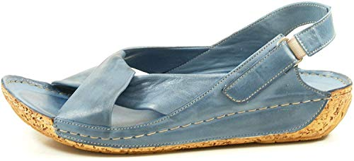 Gemini 32024-02 Schuhe Damen Sandalen Sandaletten Leder, Schuhgröße:37 EU, Farbe: Blau