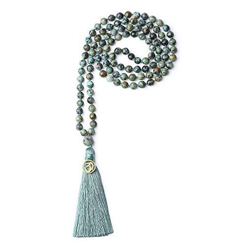 coai Unisex Handgeknüpft 108 Mala Yoga Kette Buddhistische Halskette Gebetskette aus 8mm Facettierte Afrikanische Türkis mit Quaste und OM Anhänger