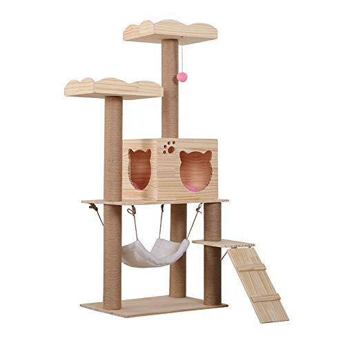 HUIO Katze Kletterturm Cat Scratch Board Katzentoilette Sisal Kratzbaum Cat Kletterbaum Massivholz Cat Tree Climbing für Medium/Large Cats (Color : Picture Color, Size : 60 x 40 x 140cm)