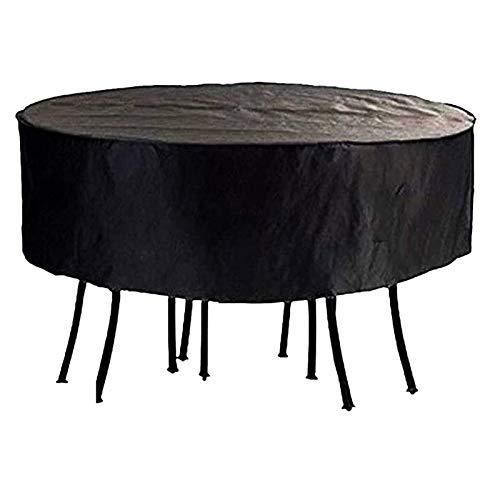 FUSHOU-Funda Muebles Jardin, Previene el polvo y la niebla, Cubierta para muebles de patio Tela Oxford redonda Protección duradera Mesa y sillas para exteriores Lona,Negro,90x60cm