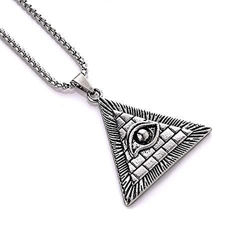 Ahuyongqing Co.,ltd Collar Retro Vintage Dominante Collar con Colgante de Ojo de Acero Inoxidable para Hombres Collar de triángulo geométrico Punk con Personalidad
