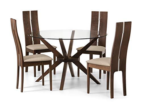 Julian Bowen Chelsea Small Dining Table & 4 Cayman Chairs, Walnut/Glass, 120cm