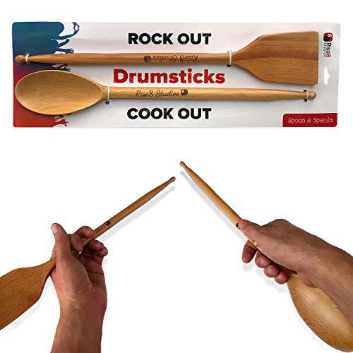 Rise8 Studios Drumstick Kochutensilien-Set aus Buche mit Löffel und Spatel