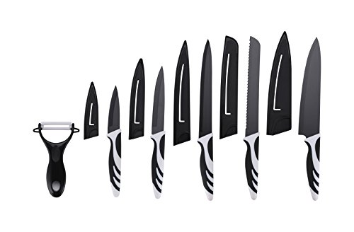 Skenda Premium Kitchen Knife Set With Covers 5 Professional Miracle Blade Knives Kitchen Set - Chef, Bread, Carving, Paring, Utility, All Sharp Knifes, Kitchen Ready for cooking, Drawer Knife Set