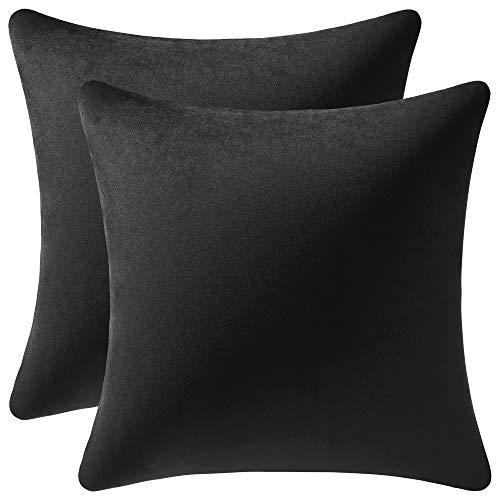 DEZENE Fundas de Cojines Decorativos Negros: Paquete de 2 Fundas de Almohada Cuadrado de Terciopelo Liso de 60x60cm para Sofá de Dormitorio