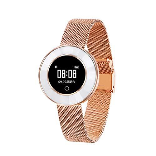 Hukz X6 Blutdruck/Blutsauerstoffsättigung/Pulsmesser Mädchen Smart Armbanduhr,X6 Smart-Armband (Milanese-Armband) (Rose Gold)