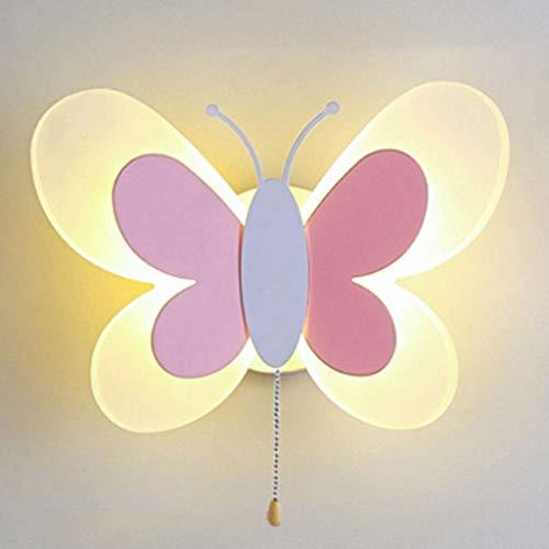 AUNEVN Modern Kinderzimmer Lampe 15W LED Wandleuchte Schmetterling Shape Cartoon Wandlampe aus Metall und Acryl Junge Mädchen Schlafzimmer Warmes Licht Wall Beleuchtung mit Zugschalter (Rosa+Weiß)