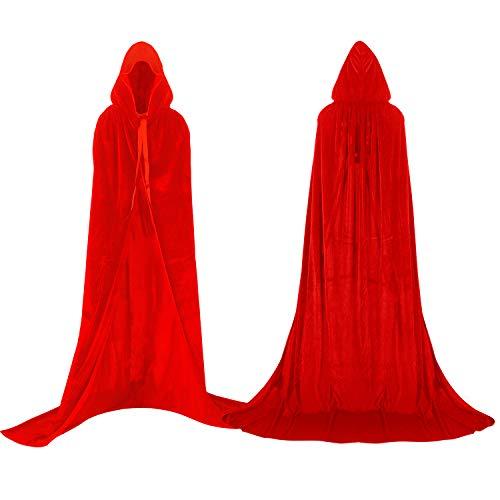 Proumhang Mantello con Cappuccio Lungo in Velluto Costume di Halloween Carnevale Natale Capo Masquerade Rosso