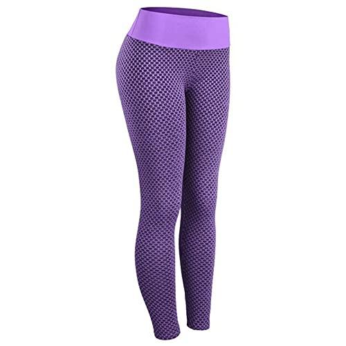 XJM Pantalones De Yoga De Cintura Alta con Textura para Mujer, Mallas Sexis para Entrenamiento De Levantamiento De Pesas, Caderas Y Mallas Embellecedoras, Mallas De Cintura Alta (S,C2)