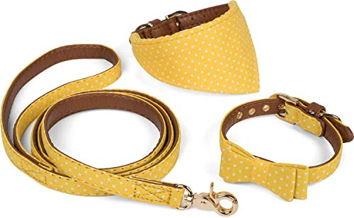 Puccybell Retro Punkte Hundehalsband mit Tuch, Schleife und Hundeleine (1,2m), 3-teiliges Set aus Bandana und Fliege Halsband mit Leine für kleine und mittelgroße Hunde HLS006 (M, Gelb)