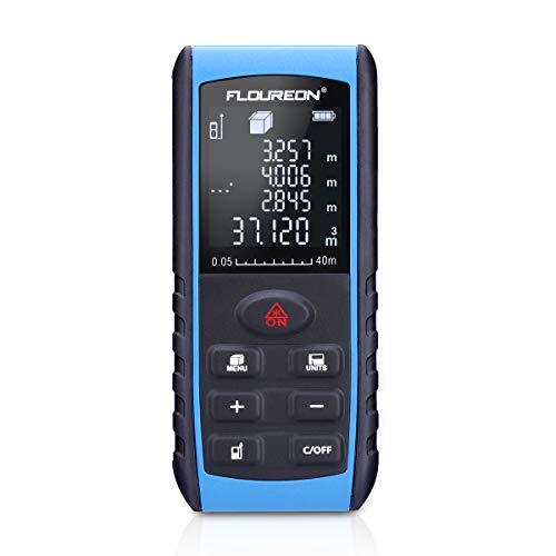 Preisvergleich Produktbild FLOUREON Advanced Laser-Entfernungsmesser Digital Entfernungsmessgerät Distanzmessgerät Distanzmesser (Messbreich 0, 05~40m / ±2mm mit LCD Hintergrundbeleuchtung,  Staub- und Spritzwasserschutz IP 54)
