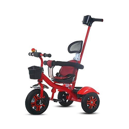 GYF Cochecito Plegable Triciclo niños Multifuncional Bicicleta Ligera Silla de Paseo de Tres Ruedas Ultraligero niños rotación Triciclo (Color : Red)