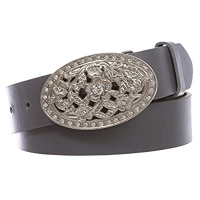 """1 1/2"""" Women's Snap On Belt With Oval Perforated Engraved Crystal Rhinestone Western Floral Buckle"""
