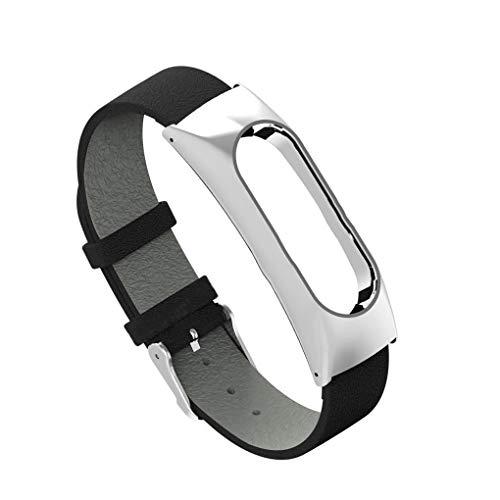 ZYElroy Reemplazo para Xiaomi MiBand2 Pulsera de la Pulsera de la aleación de Cuero Ajustable Reloj de Pulsera Venda de la Correa