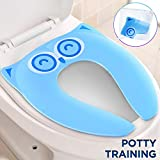 Gimars Upgrade Stable Folding Travel Portable Potty Training Seat Fits Most Toilets, No Falling in with 6 Large Non-slip Silicone Pad, Home Reusable with Carry Bag for Toddlers and Kids, Blue