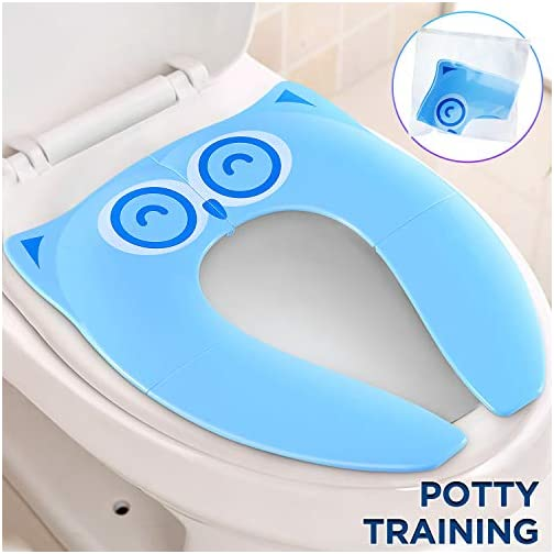 Gimars Upgrade Stable Folding Travel Portable Potty Training Seat Fits Most Toilets, No Falling in with 6 Large Non-slip… 3