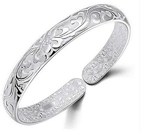 Women Jewelry 925 Silver Sterling Silver Bracelet Fashion Cuff Bangle Chain Bracelets