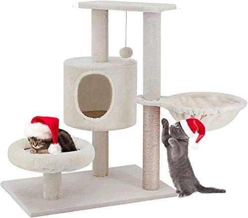 Simple Deluxe Stabiler Kratzbaum mit Sisal-Kratzstangen, Plüsch-Sitzmulden, Kletterbaum für KatzenCat Tower with Condo, Perches, Baskets,Sisal Scratching Posts for Kitten Beige 74cm