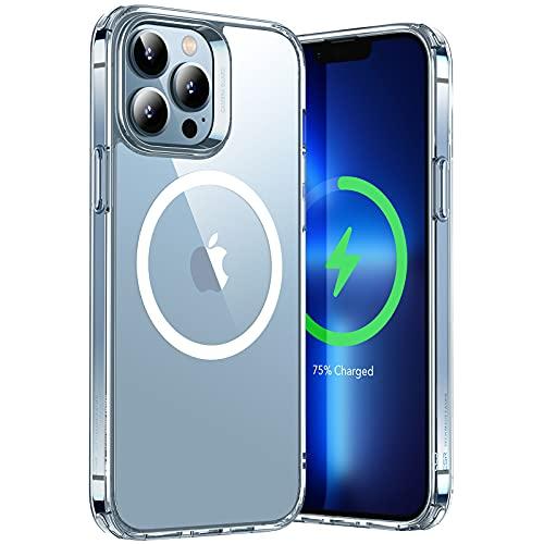 ESR Hybrid Hülle mit HaloLock Kompatibel mit iPhone 13 Pro, Magnetisches Kabelloses Laden, verstärkter Sturzschutz, Kratzresistente Rückseite, Klar