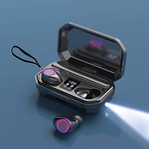 Auriculares Bluetooth, TWS Cascos Inalambricos Bluetooth con Reducción de Ruido Bluetooth Auriculares, IPX7 a Prueba de Agua Pantalla, para Android Apple Windows (M12(5.0), Negro)