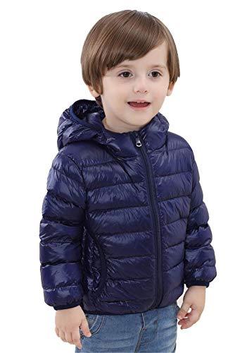QCHENG Kinder Junge Mädchen Ultraleichte Daunenjacke mit Kapuze Leicht Verpackbar Herbst Winter Warme Jacket Steppjacke Daunenmantel Marine 110cm(Höhe:91-100cm)