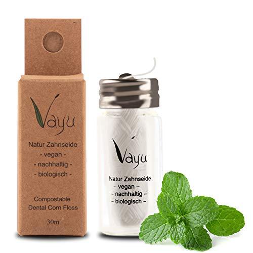 Vayu - Hilo dental vegano natural (frasco de cristal), recargable, 30 metros, sin plástico, en cristal, sabor a menta