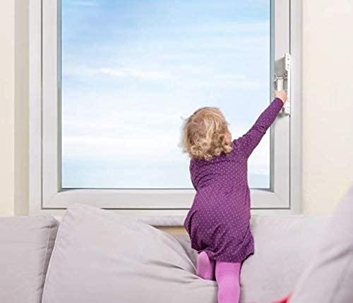 Kindersicherung für Fenster - ohne Bohren | werkzeuglose Montage, Fenstersicherung, Balkonsicherung, Verriegelung ohne Beschädigung - 2 Stück (Transparent)