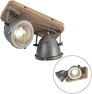 Qazqa Spot au Plafond   Éclairage de plafond Industriel - Emado Lampe Gris Marron - GU10 - Convient pour LED - 2 x 25 Watt