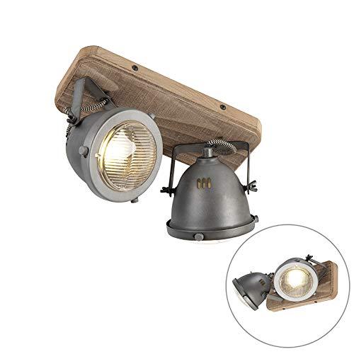QAZQA Plafón industrial acero madera orientable 2-luces - EMADO/Acero Alargada Adecuado para...