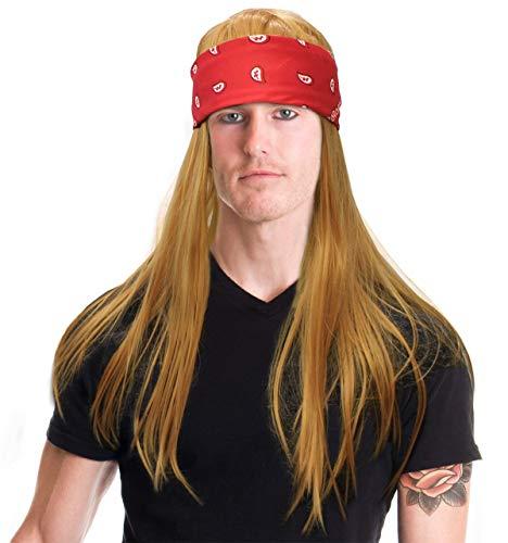 80's Rocker Costume Wig Rocker Costume Wig With Bandana Rock Wig