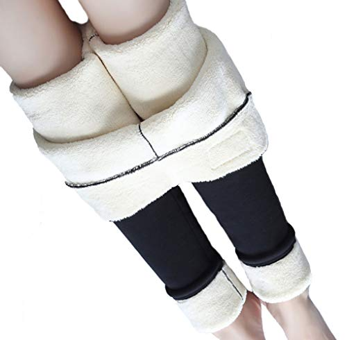 Hezeisoar Warme Thermo Leggings Damen Verdicken mit Plüsch Gefüttert Slim Lange Leggings Elastische Hosen Mädchen Winter Strumpfhose Pants EU 2XL = Etikett 4XL