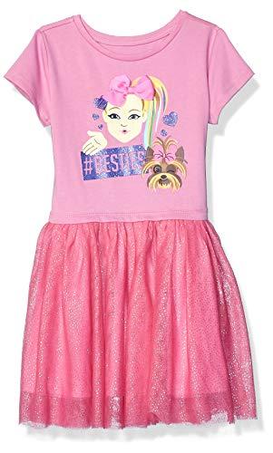 JoJo Siwa Girls' Little Besties Emoji JoJo Bow Siwa Tutu Dress with Tulle Skirt, Pink/Hot Pink, X-Small-4/5