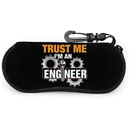 Mei-shop Confía en mí Soy un ingeniero mecánico Estuche portátil para anteojos, Estuche blando para gafas de sol con mosquetón