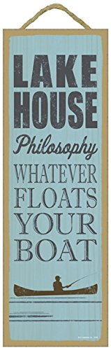 "SJT ENTERPRISES, INC. Lake House Philosophy: Whatever Floats Your Boat (Fisherman in Boat Image) Lake Primitive Wood Plaque Sign, 5"" x 15"" (SJT02565)"