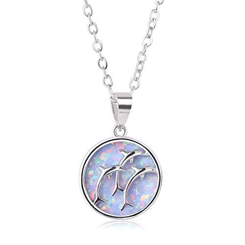 KELITCH Frau Halsketten 925 Sterling Silber Überzogen Kreis Weiß Geschaffen Opal Delphin Anhänger Erklärung Halskette Zum Mädchen