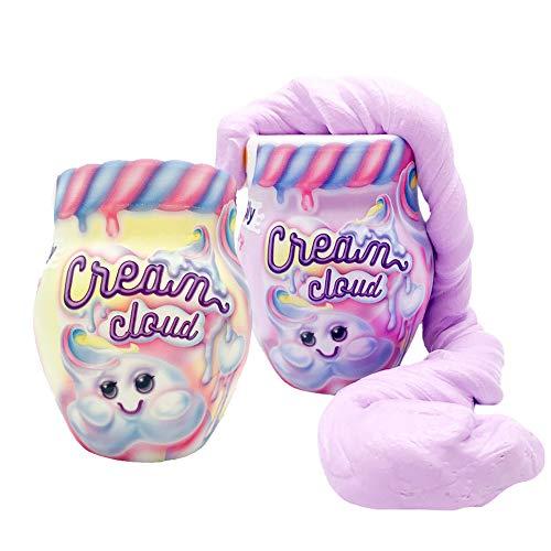GenioKids Marshmallow Fluffy Slime Set 2 Stück/2 Farben/360g Cream Cloud Schleim Kinder (lila / gelb)