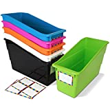 Really Good Stuff Durable Magazine, Book, Folder, File and Binder Holders – Ideal for Narrow or Vertical Storage Needs – Instantly Color Code Your Classroom – Bright Neon Pop! Colors (Set of 6)