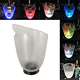 LED Ice Buckets, Colors Changing Cooler Bucket Waterproof Ice Bucket Champagne/Wine/Beer Bucket, 7-Color Gradient Luminous Plastic Ice Bucket, For Party/Home/Bar/KTV Club (4L Battery/USB Powered)