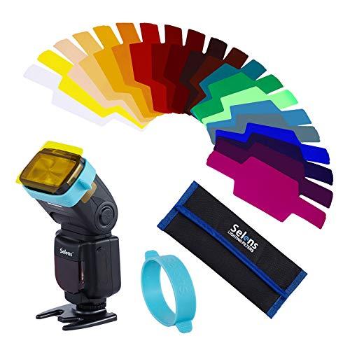 Selens Universal 20x Gel Filtro Iluminacion Gels Lighting Filter con 1x Goma de Adaptacion Gel Band para Flash Speedlite Camara (SE-CG20)