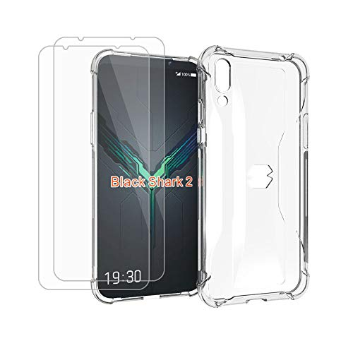HYMY Hülle für Xiaomi Black Shark 2 + 2 x Schutzfolie Panzerglas -Transparent Erdbebenresistenz Schutzhülle TPU Handytasche Tasche Verstärkung an Vier Ecken Hülle für Xiaomi Black Shark 2 (6.39